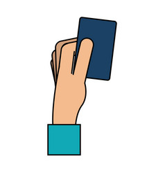 hand holding card icon image vector image