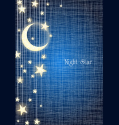 hanging moon and star on night sky vector image