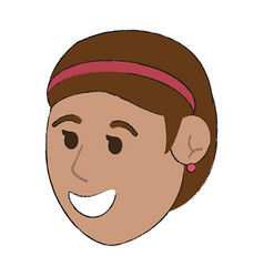 Happy smiling woman wearing headband cartoon ico vector