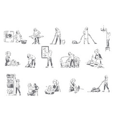 housekeeping household chores concept sketch vector image