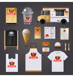 Ice Cream Selling Design Set vector