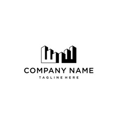 initial w with building logo design consent vector image