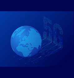 isometric 5g network wireless systems and internet vector image