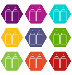 Ketchup mustard squeeze bottle icons set 9 vector