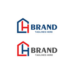 Letter ch real estate logo vector