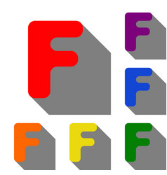 letter f sign design template element set of red vector image