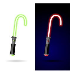 Light saber Red and green lightsaber vector image