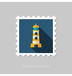 Lighthouse flat stamp Summer Vacation vector image