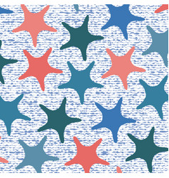 Living coral starfish pattern with stripes vector