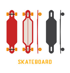 Long skateboard bottom side and top view vector