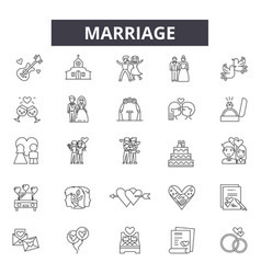marriage line icons signs set linear vector image