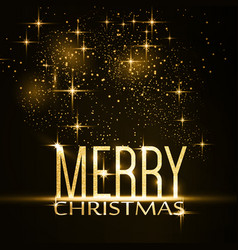 merry christmas typography background with gold vector image