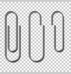 Metal paperclips isolated and attached to paper vector