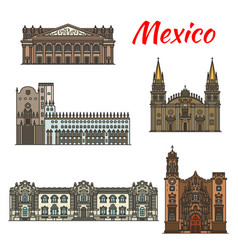 Mexican travel landmark icon for tourism design vector