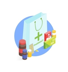 Modern pharmacy and drugstore concept Isometric vector image