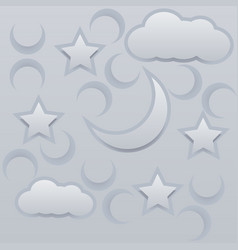 moon stars and clouds paper vector image