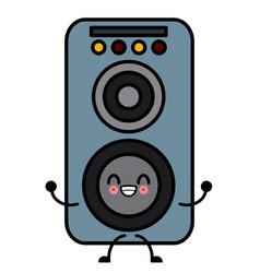 Music speaker isolated cute kawaii cartoon vector