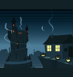 mysterious and spooky night scene vector image