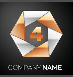 number four logo symbol in the colorful hexagon on vector image