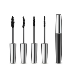 Opened Closed Black Mascara with Different Brushes vector