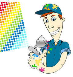 Painter in uniform with spray gun vector
