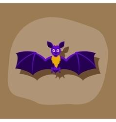 Paper sticker on stylish background cute bat vector