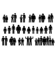 People and man different body sizes vector