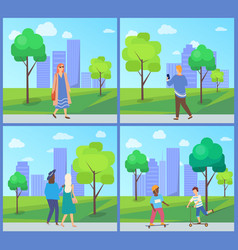 people walking in city park recreation vector image