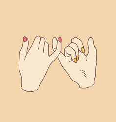 Pinky promise concept with two hands performing vector