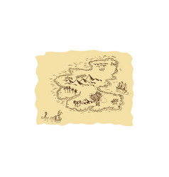 pirate treasure map sailing ship drawing vector image