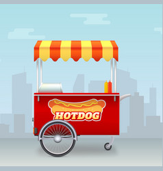 realistic hot dog cart street fast food market on vector image