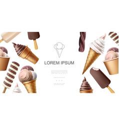 Realistic tasty icecream template vector