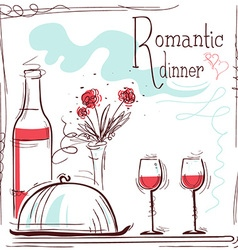 Romantic dinner card with wine and food vector