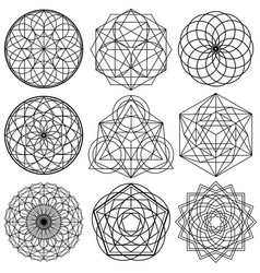 Sacred geometry symbols - set 02 vector