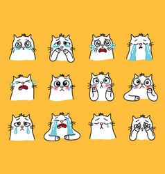 Sad cats emoji vector