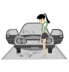 Sad young woman and broken car vector