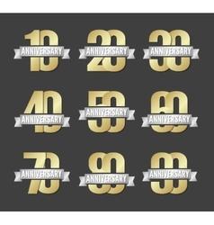 set anniversary golden signs vector image