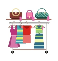 Shelves with Clothes and Accessories vector