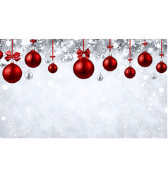 Shiny background with red christmas balls vector