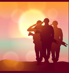 silhouette a soldiers saluting against vector image
