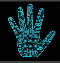 Silhouette of a man hand with a high-tech computer vector