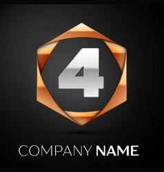 silver number four logo symbol in golden hexagonal vector image