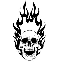 Skull falling with fire vector