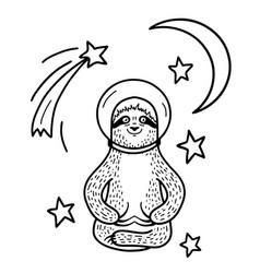 Smiling sloth astronaut in helmet sitting among vector