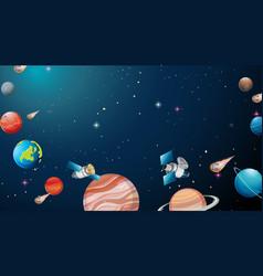 Solar system universe scene vector