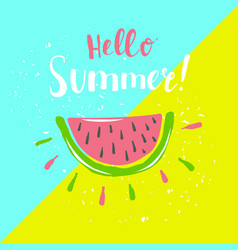 Summer poster with watermelon and hand-lettering vector