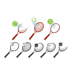 Tennis racket logo set vector