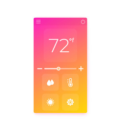 Thermostat app interface mobile ui vector