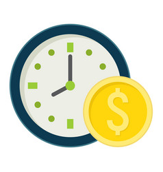 time is money flat icon business and finance vector image