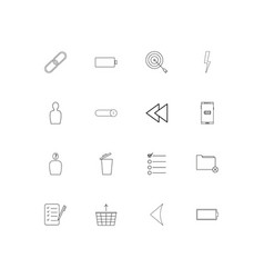 User interface simple linear icons set outlined vector